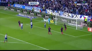 هایلایت حرکات لیونل مسی مقابل دپورتیوو لاکرونیا ( بازی خارج از خانه )