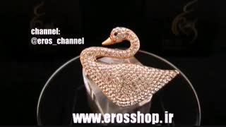 گل سینه نگین دار طرح قو سواروسکی (swarovski) - www.erosshop.ir