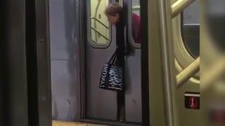 خونسردی مسافران نسبت به گیر کردن سر یک زن، میان درهای مترو در نیویورک