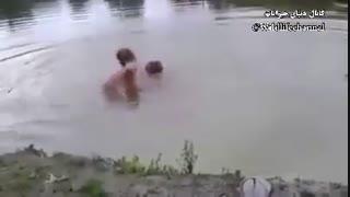 یک سگ بعد از آنکه تصور میکند صاحبش در حال غرق شدن است، بلافاصله به داخل دریاچه میپرد تا او را نجات دهد