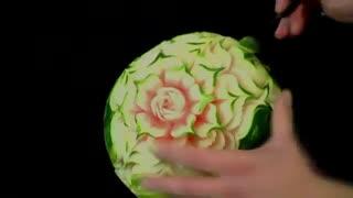 آموزش میوه آرایی - طرح گل با هندوانه