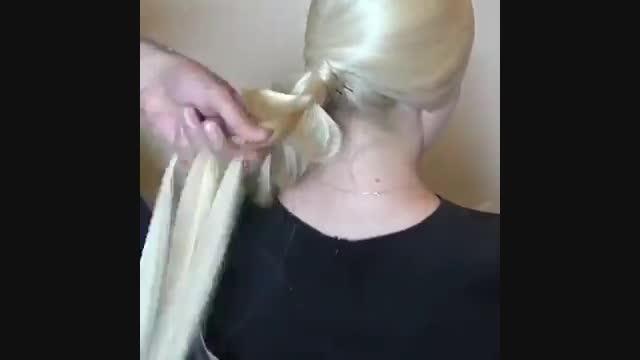 آموزش شنیون عروس با استفاده از بافت مو