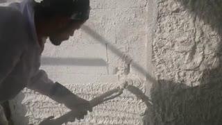 نحوه استفاده گچ پاششی توسط یکی از پیمانکاران در تهران