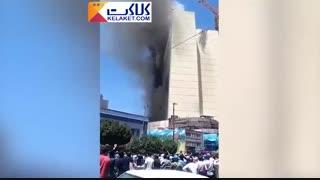 آتش سوزی در یکی از هتل های درحال احداث مشهد در خیابان امام رضا