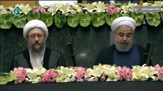 لحظه سوگند ریاست جمهوری حسن روحانی در مجلس ایران