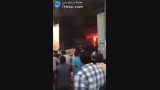 آتشسوزی گسترده چندین انبار در  خیابان منصور تهران