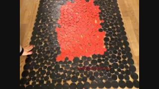 فرش قرمز و مشکی چرم دست دوز-فرش پوست و چرم کد2202