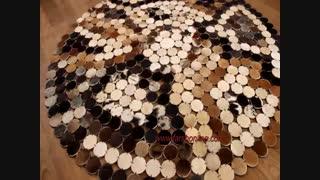فرش گرد تکه دوزی پوست و چرم-فرش پوست و چرم کد2206
