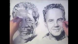 این هنرمند جوان و خلاق با هر دو دستش به طور همزمان ۲ نقاشی متفاوت میکشد!