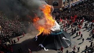 ویدیو 360 درجه : آتش زدن خیمه در وسط بازار تهران در روز عاشورا
