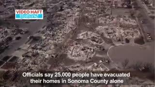 خسارت باورنکردنی به شهرهایی که در مسیر آتشسوزی بزرگ  کالیفرنیا قرار گرفتند